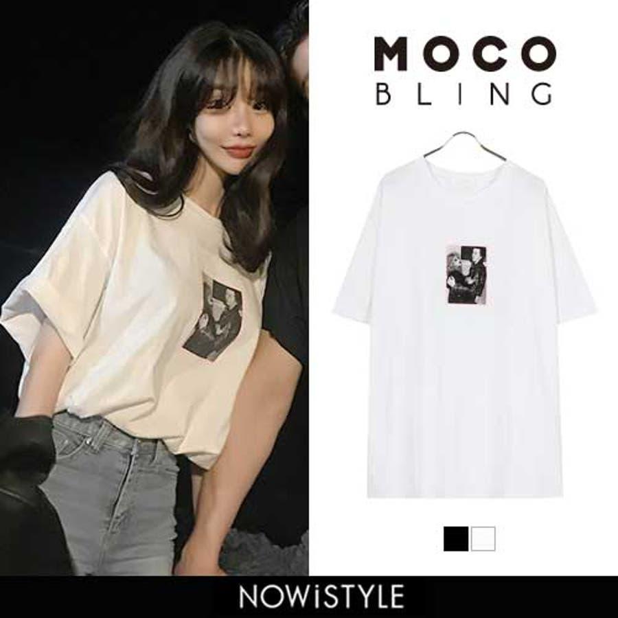 MOCOBLING(モコブリング)ハリウッドTシャツ 韓国 韓国ファッション ワンポイント プリント 写真 ブラック ホワイト