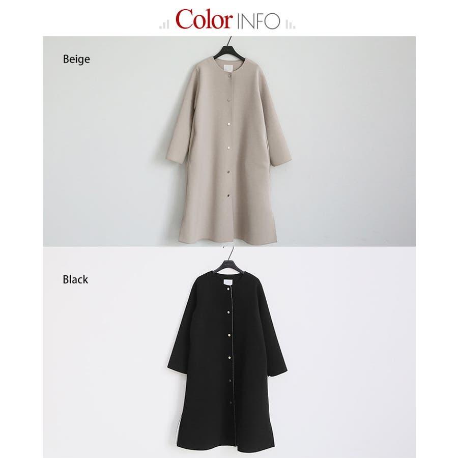NANING9(ナンニング)ノーカラーロングコート 韓国 韓国ファッション アウター コート ノーカラー ロング丈ロングコートジャケット オケージョン 通勤 春 ライトアウターナンニング レディース 11