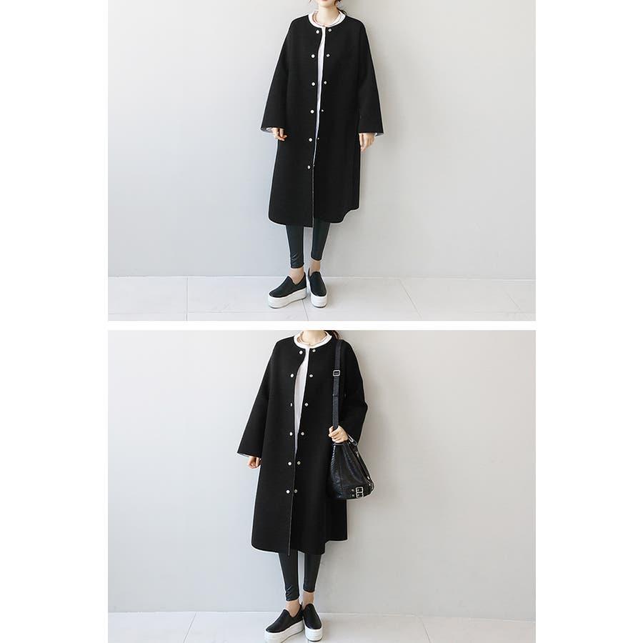 NANING9(ナンニング)ノーカラーロングコート 韓国 韓国ファッション アウター コート ノーカラー ロング丈ロングコートジャケット オケージョン 通勤 春 ライトアウターナンニング レディース 8