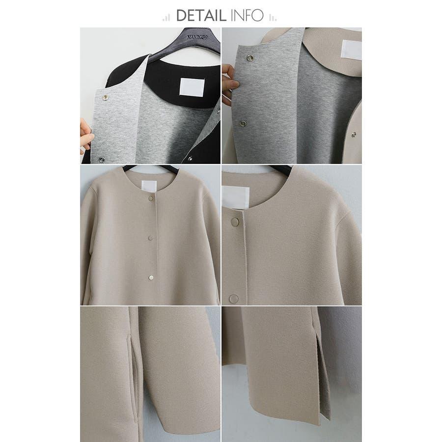 NANING9(ナンニング)ノーカラーロングコート 韓国 韓国ファッション アウター コート ノーカラー ロング丈ロングコートジャケット オケージョン 通勤 春 ライトアウターナンニング レディース 10