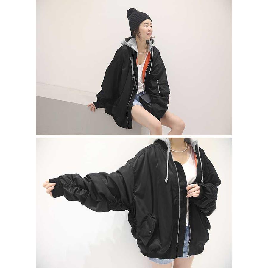 NANING9(ナンニング)フード付きMA,1 韓国 韓国ファッション アウター ジャケット MA,