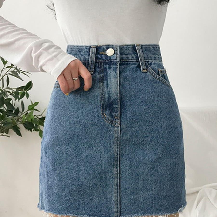MICHYEORA(ミチョラ)カッティングデニムスカート韓国韓国ファッション スカート ミニスカート カットオフ デニムスカートミニスカ カジュアル ベーシック 11