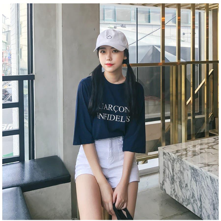 韓国韓国ファッション大人シックトップスTシャツ7分袖ロゴ英字夏秋秋カラー