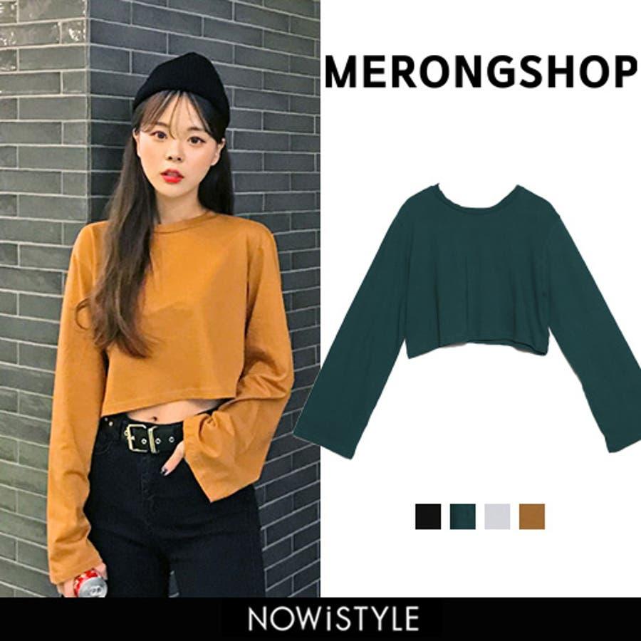 MERONGSHOP(メロンショップ)デイリークロップドTシャツ 韓国 韓国ファッション トップス TシャツロンT