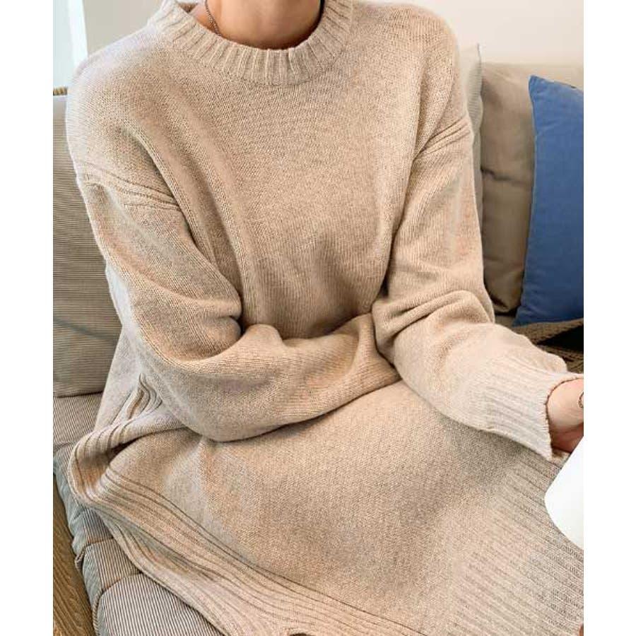 MERONGSHOP(メロンショップ)ウールニットロングワンピース韓国 韓国ファッション ワンピース ニット ニットワンピースロングワンピース 冬 ハイネック ウール スリット 大きいサイズ 体型カバー ファッション 7