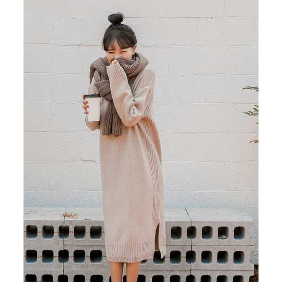 MERONGSHOP(メロンショップ)ウールニットロングワンピース韓国 韓国ファッション ワンピース ニット ニットワンピースロングワンピース 冬 ハイネック ウール スリット 大きいサイズ 体型カバー ファッション 10
