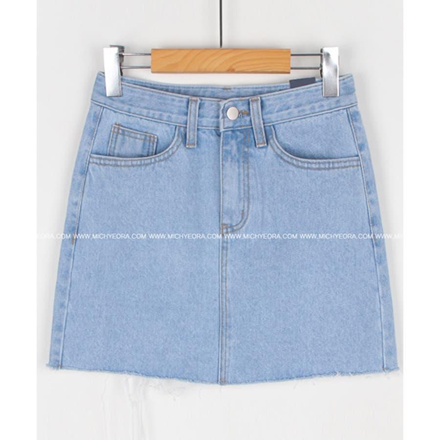 MICHYEORA(ミチョラ)カッティングデニムスカート韓国韓国ファッション スカート ミニスカート カットオフ デニムスカートミニスカ カジュアル ベーシック 5
