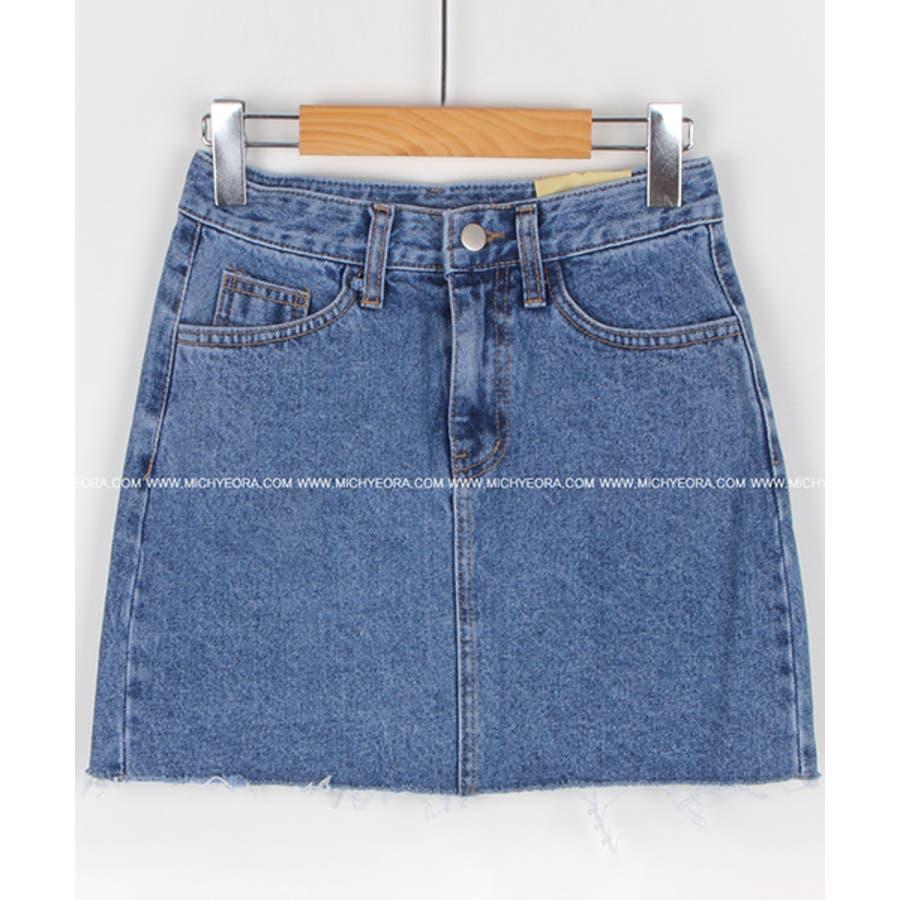 MICHYEORA(ミチョラ)カッティングデニムスカート韓国韓国ファッション スカート ミニスカート カットオフ デニムスカートミニスカ カジュアル ベーシック 6