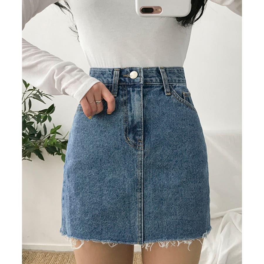 MICHYEORA(ミチョラ)カッティングデニムスカート韓国韓国ファッション スカート ミニスカート カットオフ デニムスカートミニスカ カジュアル ベーシック 7