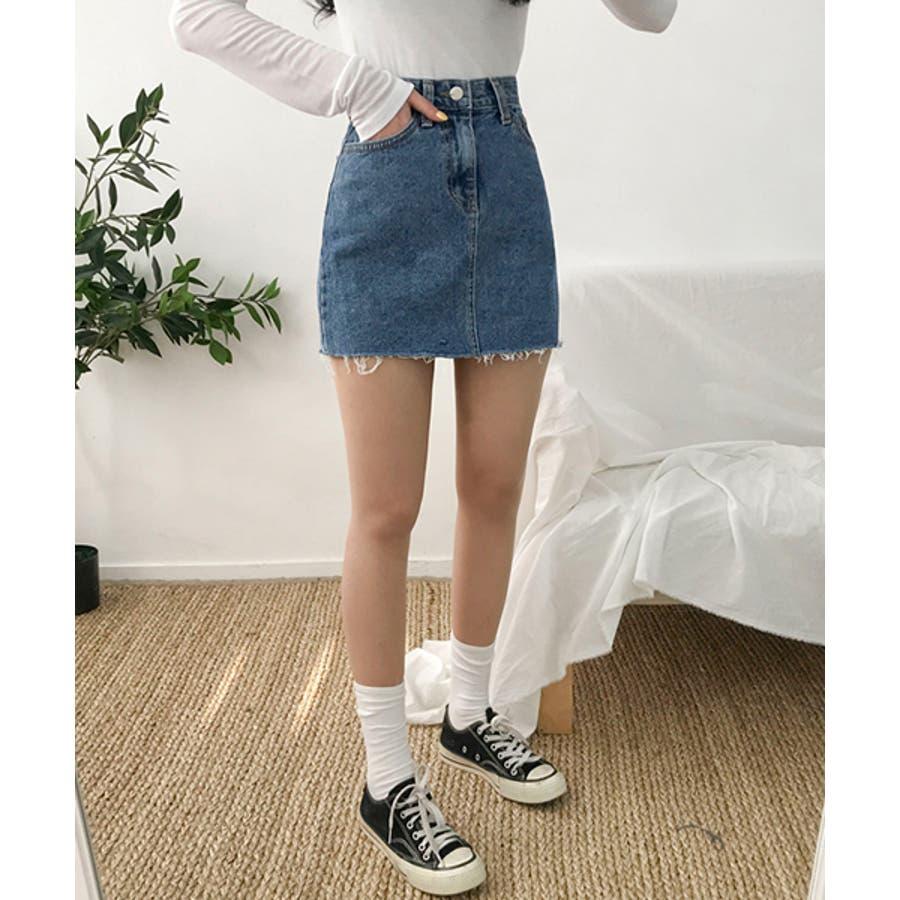 MICHYEORA(ミチョラ)カッティングデニムスカート韓国韓国ファッション スカート ミニスカート カットオフ デニムスカートミニスカ カジュアル ベーシック 8
