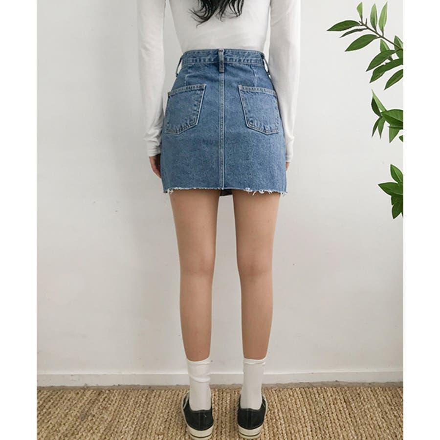 MICHYEORA(ミチョラ)カッティングデニムスカート韓国韓国ファッション スカート ミニスカート カットオフ デニムスカートミニスカ カジュアル ベーシック 9