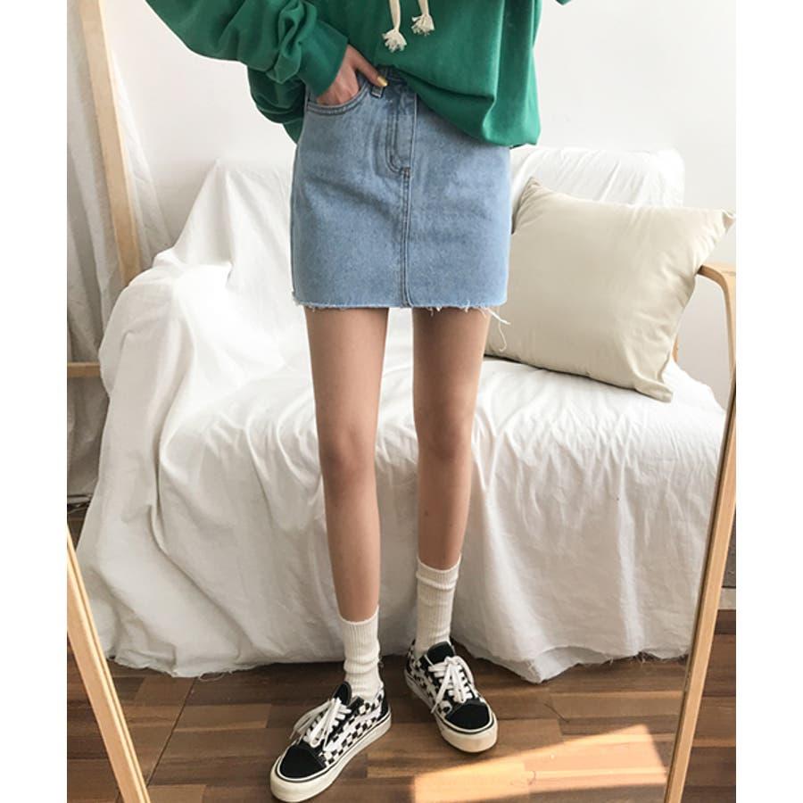 MICHYEORA(ミチョラ)カッティングデニムスカート韓国韓国ファッション スカート ミニスカート カットオフ デニムスカートミニスカ カジュアル ベーシック 1