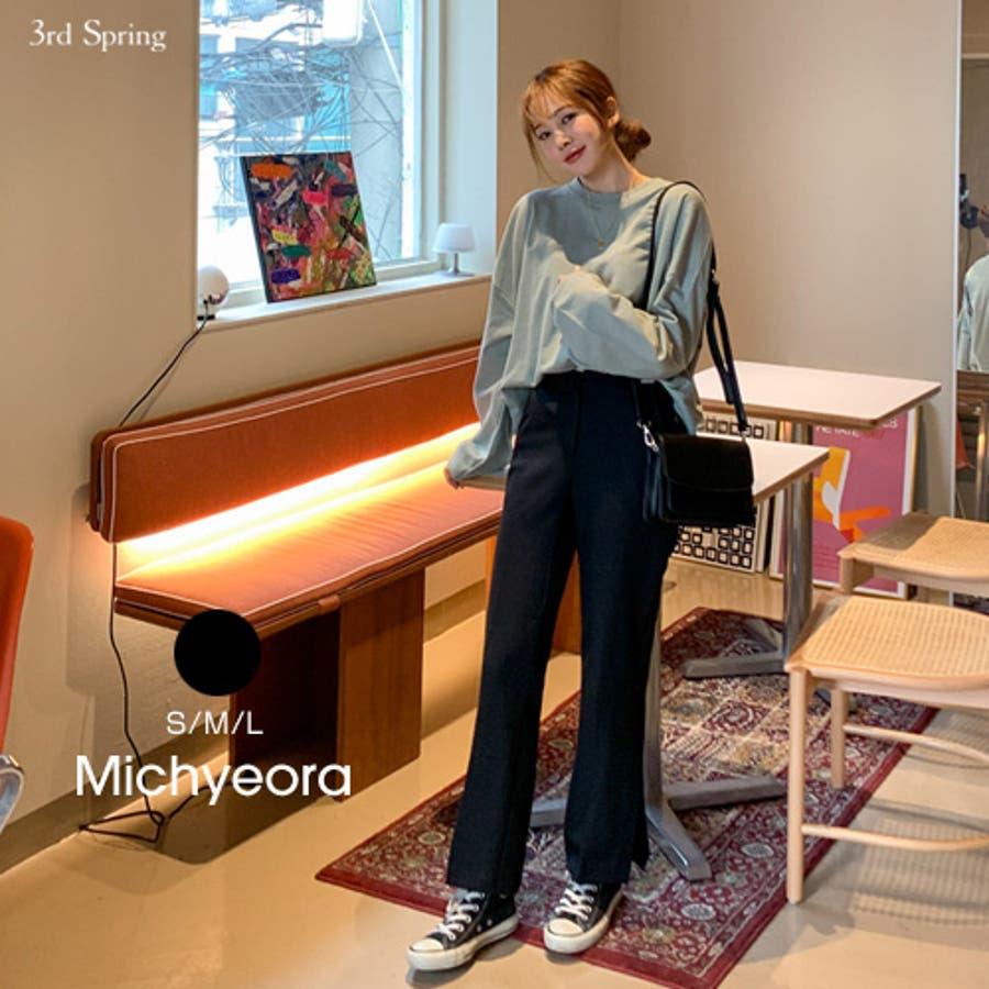 MICHYEORA(ミチョラ)ブーツカットスラックス韓国 韓国ファッション パンツ ボトムス スラックス ブーツカット 黒パンツ, センタープレス  秋コーデ スリット