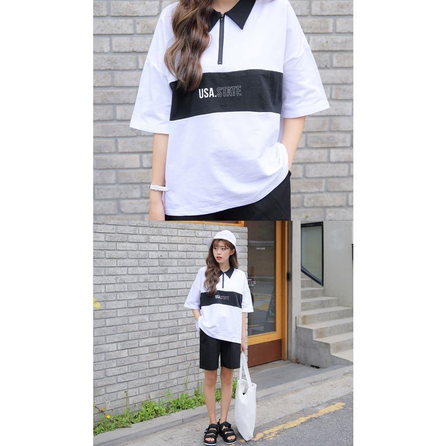 SONYUNARA(ソニョナラ)カラーブロックポロシャツ 韓国 韓国ファッション ポロシャツロゴ プリント 半袖 襟付 ピンクブラック 夏 レディース ファッション 4