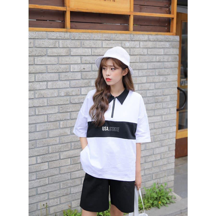 SONYUNARA(ソニョナラ)カラーブロックポロシャツ 韓国 韓国ファッション ポロシャツロゴ プリント 半袖 襟付
