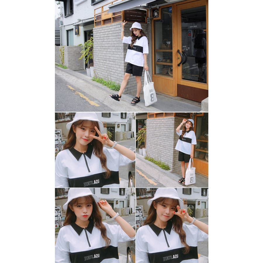 SONYUNARA(ソニョナラ)カラーブロックポロシャツ 韓国 韓国ファッション ポロシャツロゴ プリント 半袖 襟付 ピンクブラック 夏 レディース ファッション 6