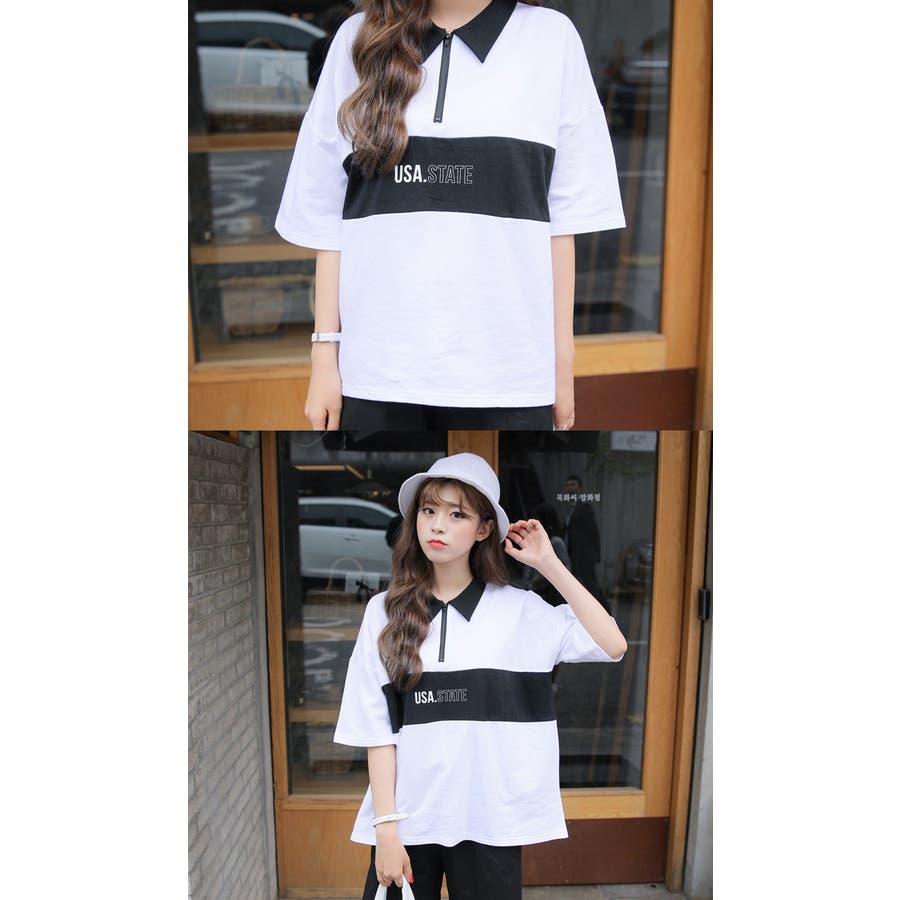 SONYUNARA(ソニョナラ)カラーブロックポロシャツ 韓国 韓国ファッション ポロシャツロゴ プリント 半袖 襟付 ピンクブラック 夏 レディース ファッション 7
