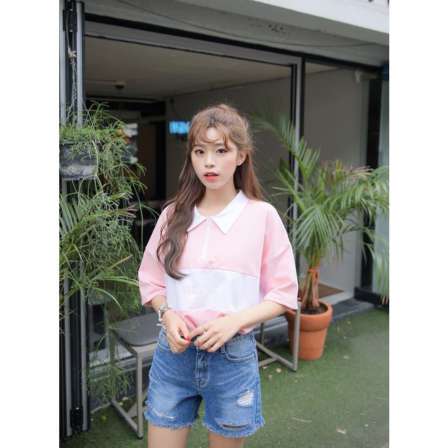 SONYUNARA(ソニョナラ)カラーブロックポロシャツ 韓国 韓国ファッション ポロシャツロゴ プリント 半袖 襟付 ピンクブラック 夏 レディース ファッション 8