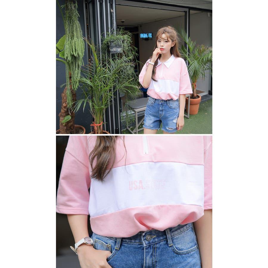 SONYUNARA(ソニョナラ)カラーブロックポロシャツ 韓国 韓国ファッション ポロシャツロゴ プリント 半袖 襟付 ピンクブラック 夏 レディース ファッション 9