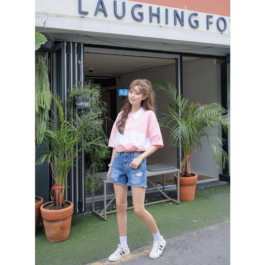 SONYUNARA(ソニョナラ)カラーブロックポロシャツ 韓国 韓国ファッション ポロシャツロゴ プリント 半袖 襟付 ピンクブラック 夏 レディース ファッション 10