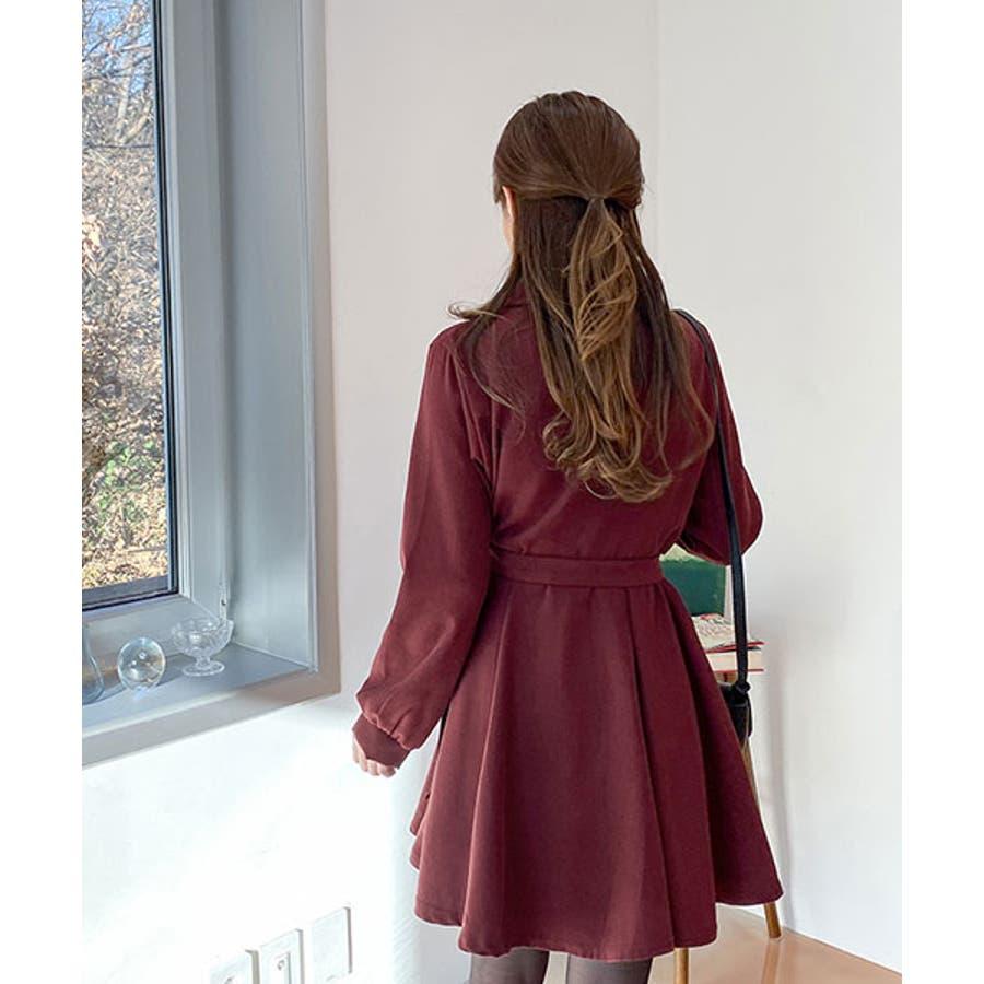 SONYUNARA(ソニョナラ)クラシックフレアラップワンピース韓国韓国ファッション 冬 クラシック フェミニン カラー ネックラインオーバーフィット スリム袖 フレア ラップワンピース 腰ストラップ デート デイリーレディースファッション 8