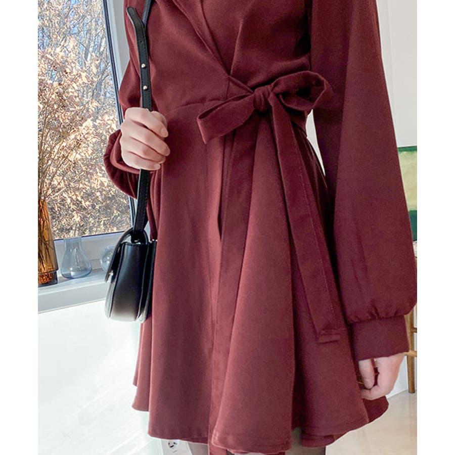 SONYUNARA(ソニョナラ)クラシックフレアラップワンピース韓国韓国ファッション 冬 クラシック フェミニン カラー ネックラインオーバーフィット スリム袖 フレア ラップワンピース 腰ストラップ デート デイリーレディースファッション 9