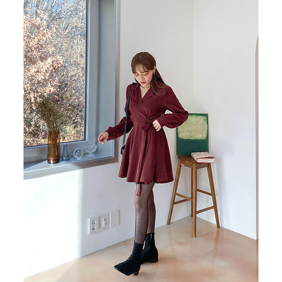SONYUNARA(ソニョナラ)クラシックフレアラップワンピース韓国韓国ファッション 冬 クラシック フェミニン カラー ネックラインオーバーフィット スリム袖 フレア ラップワンピース 腰ストラップ デート デイリーレディースファッション 10