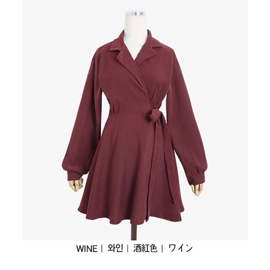 SONYUNARA(ソニョナラ)クラシックフレアラップワンピース韓国韓国ファッション 冬 クラシック フェミニン カラー ネックラインオーバーフィット スリム袖 フレア ラップワンピース 腰ストラップ デート デイリーレディースファッション 4
