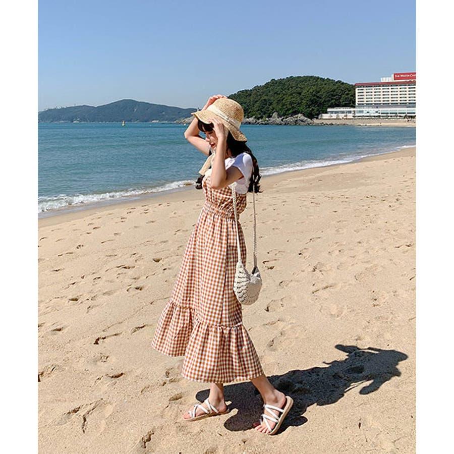 SONYUNARA(ソニョナラ)ギンガムチェックロングワンピース韓国 韓国ファッション おしゃれ コーデ デイリー ラブリー 春夏ロングワンピース チェック カジュアル レディース ファッション 8