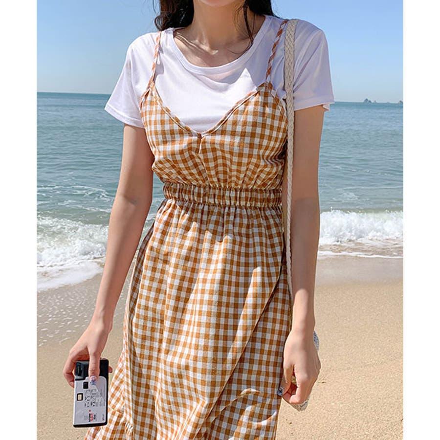 SONYUNARA(ソニョナラ)ギンガムチェックロングワンピース韓国 韓国ファッション おしゃれ コーデ デイリー ラブリー 春夏ロングワンピース チェック カジュアル レディース ファッション 11