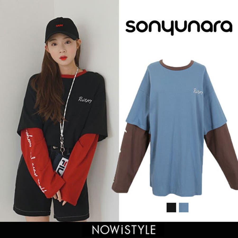 cb6b0080544 SONYUNARA(ソニョナラ)カラーブロックレイヤードTシャツ【8/27up_wo】韓国韓国