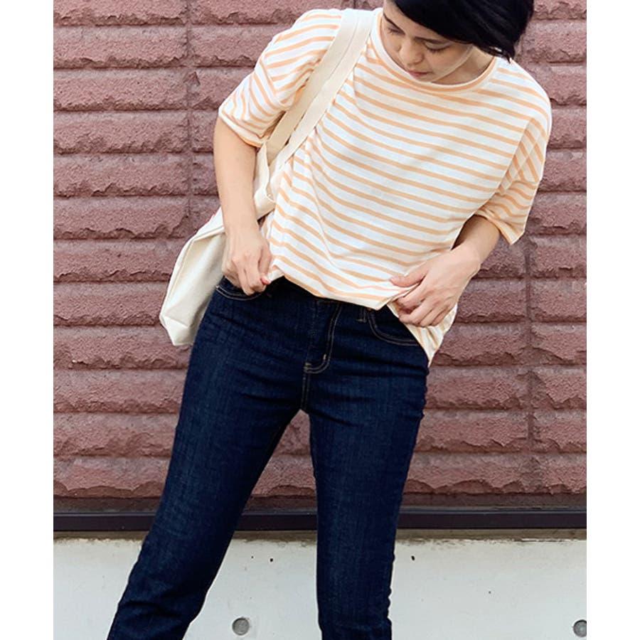 MICHYEORA(ミチョラ)ワイド袖ボーダーTシャツ韓国韓国ファッション トップス ワイド袖 ボーダートップス 長袖 カットソー ボーダー ベーシック  9