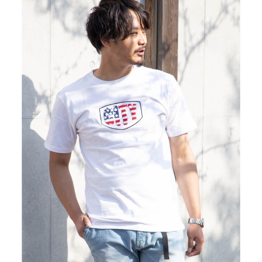 サガラ刺繍 星条旗 CITYロゴ クルーネック 半袖 Tシャツ 16