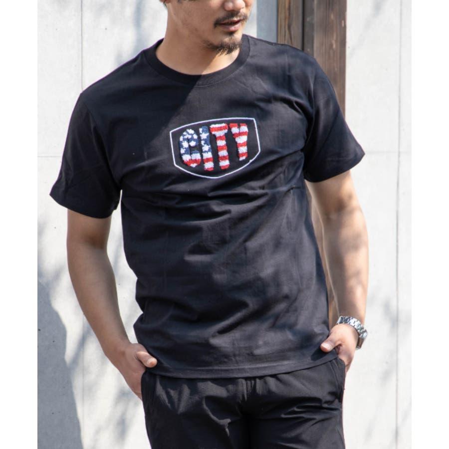 サガラ刺繍 星条旗 CITYロゴ クルーネック 半袖 Tシャツ 21