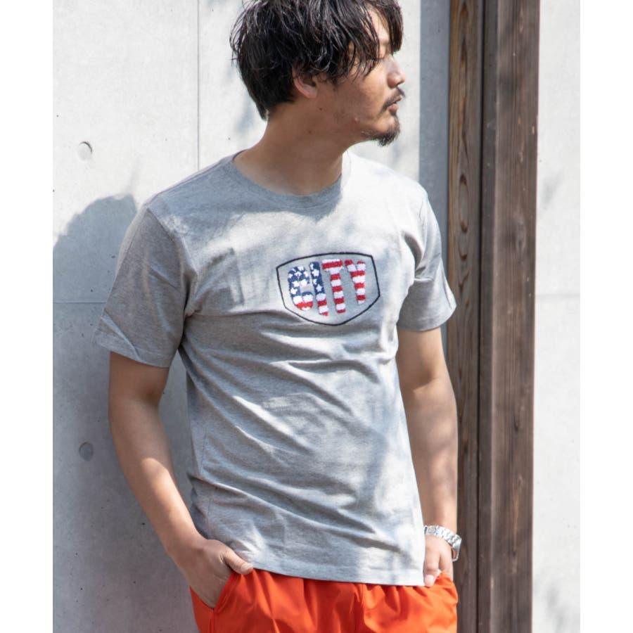 サガラ刺繍 星条旗 CITYロゴ クルーネック 半袖 Tシャツ 23