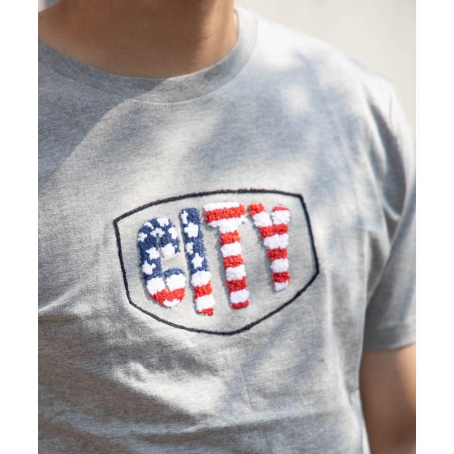 サガラ刺繍 星条旗 CITYロゴ クルーネック 半袖 Tシャツ 6
