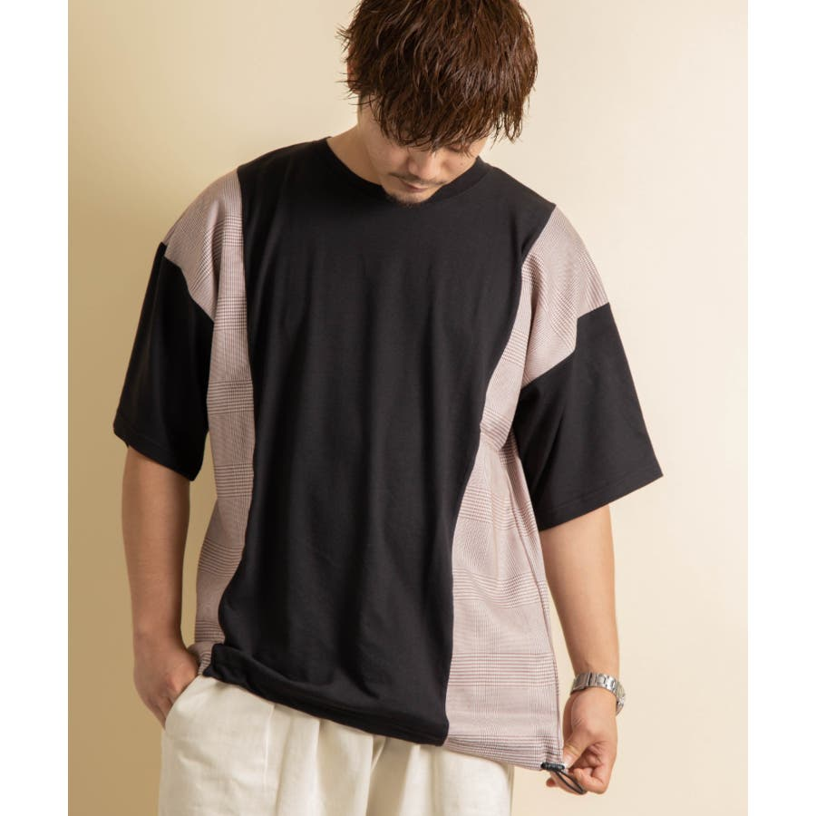 NYLAUS グレンチェック柄 切り替え ドルマンスリーブ クルーネック 半袖 ビッグTシャツ 21