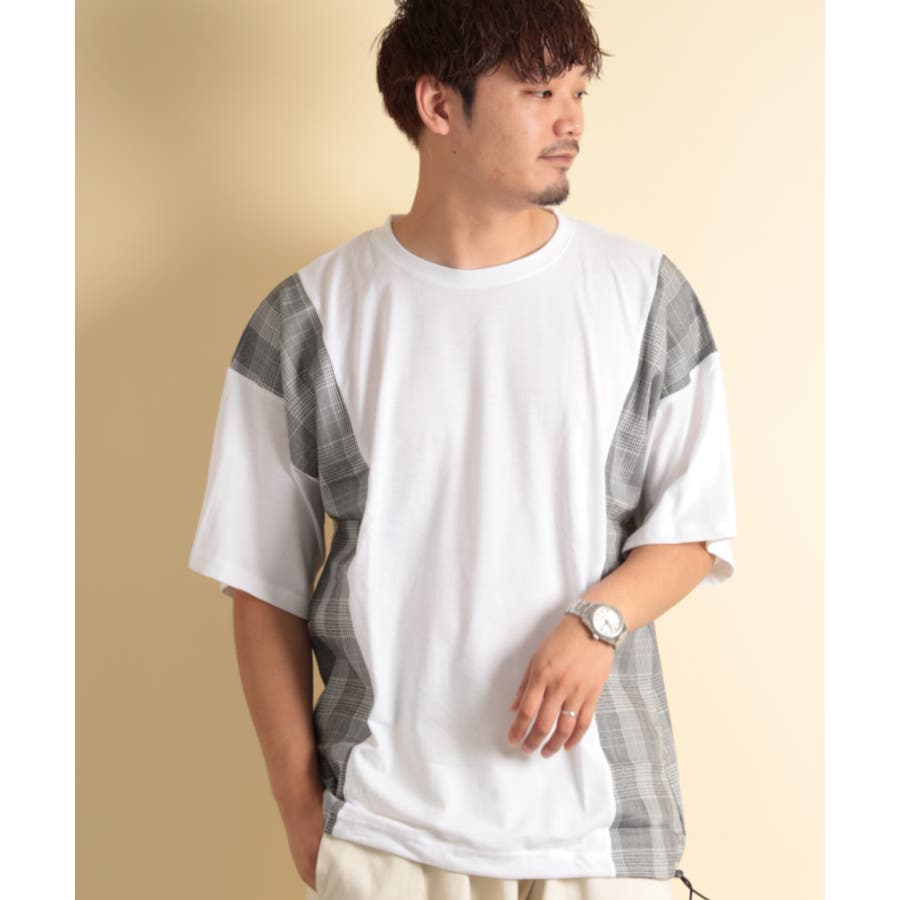 NYLAUS グレンチェック柄 切り替え ドルマンスリーブ クルーネック 半袖 ビッグTシャツ 16