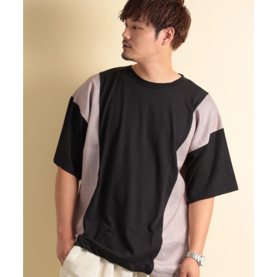 NYLAUS グレンチェック柄 切り替え ドルマンスリーブ クルーネック 半袖 ビッグTシャツ 2