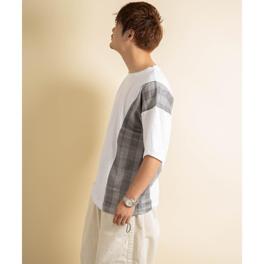 NYLAUS グレンチェック柄 切り替え ドルマンスリーブ クルーネック 半袖 ビッグTシャツ 3