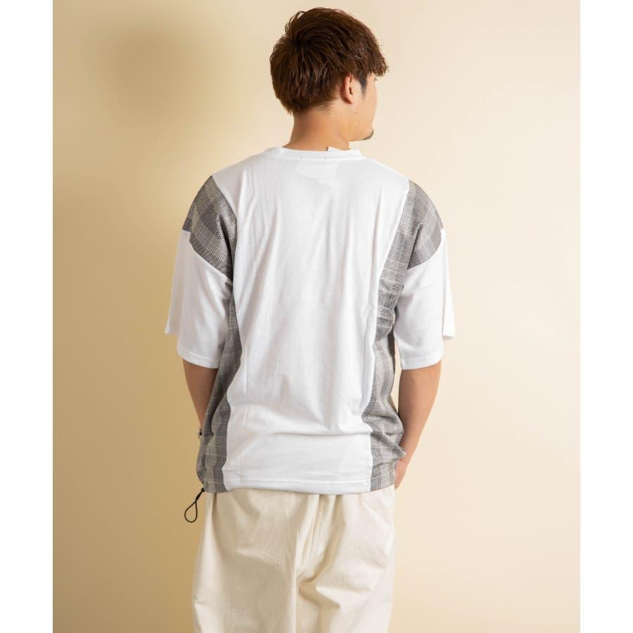 NYLAUS グレンチェック柄 切り替え ドルマンスリーブ クルーネック 半袖 ビッグTシャツ 4