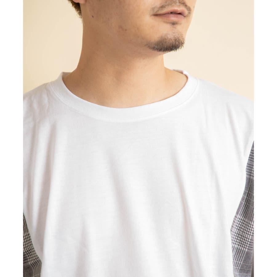 NYLAUS グレンチェック柄 切り替え ドルマンスリーブ クルーネック 半袖 ビッグTシャツ 5