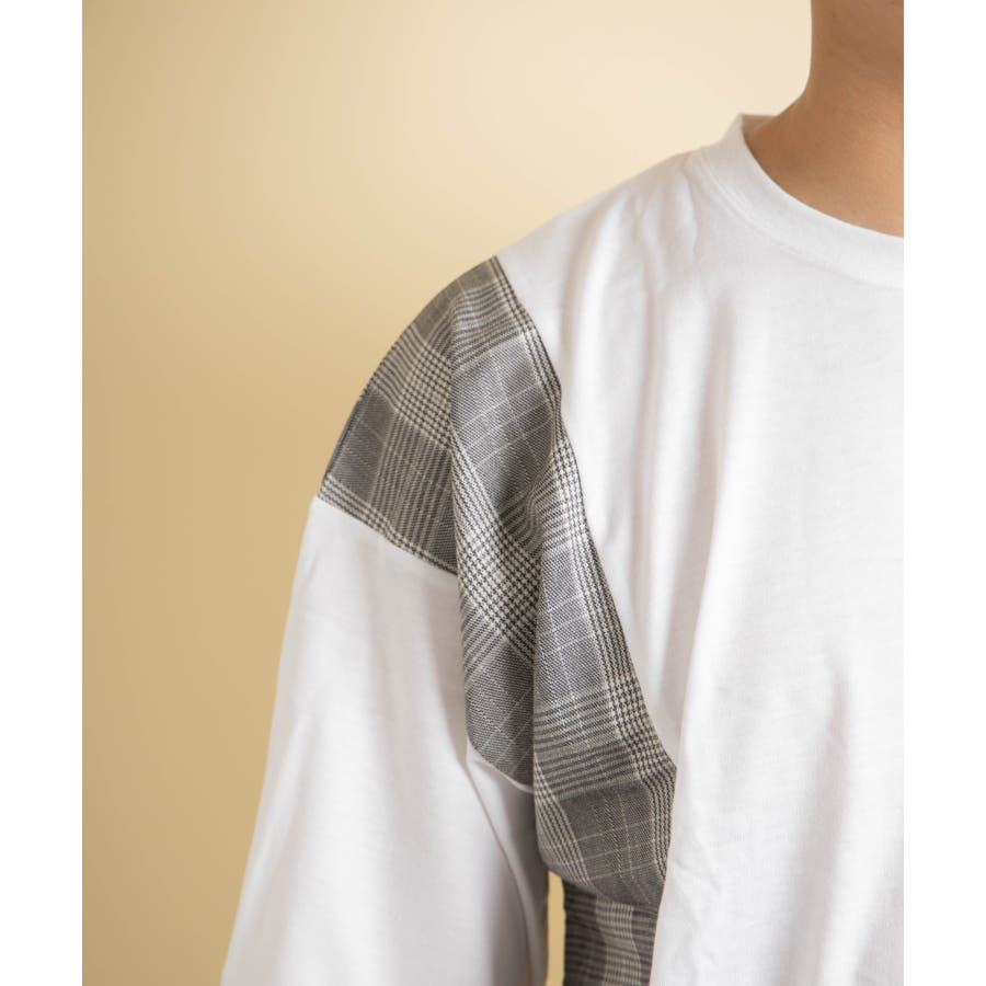 NYLAUS グレンチェック柄 切り替え ドルマンスリーブ クルーネック 半袖 ビッグTシャツ 6