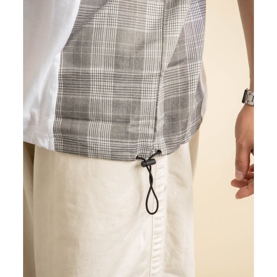 NYLAUS グレンチェック柄 切り替え ドルマンスリーブ クルーネック 半袖 ビッグTシャツ 7