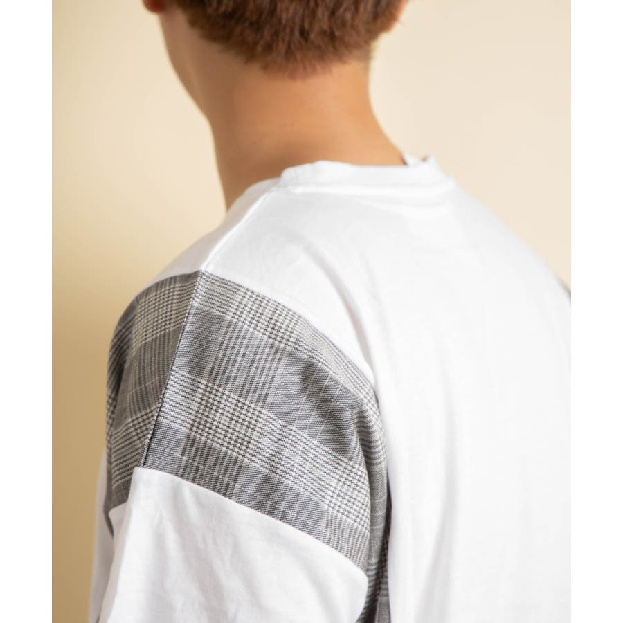 NYLAUS グレンチェック柄 切り替え ドルマンスリーブ クルーネック 半袖 ビッグTシャツ 8