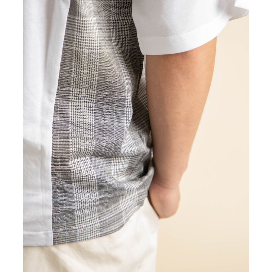 NYLAUS グレンチェック柄 切り替え ドルマンスリーブ クルーネック 半袖 ビッグTシャツ 9