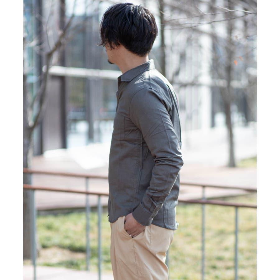 NYLAUS 無地 ストライプ 綿麻 ストレッチ 長袖シャツ 10