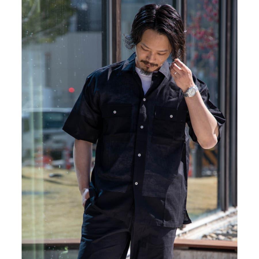 NYLAUS 綿麻 ストレッチ ビッグシルエット 半袖 ワークシャツ ミリタリーシャツ 21