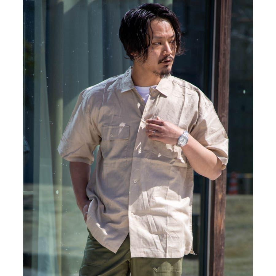 NYLAUS 綿麻 ストレッチ ビッグシルエット 半袖 ワークシャツ ミリタリーシャツ 41