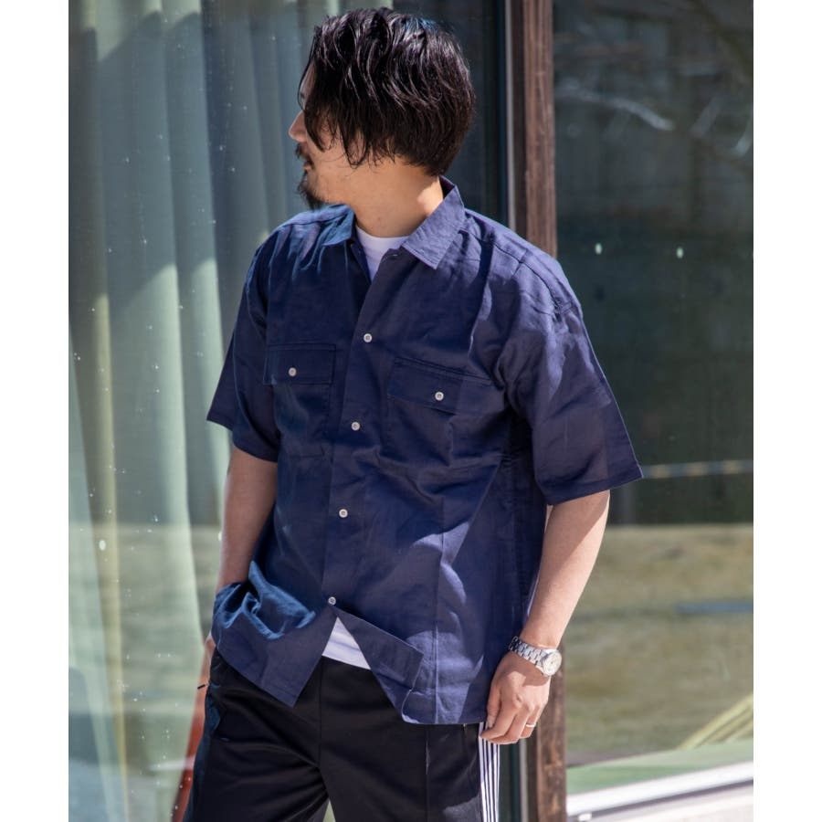 NYLAUS 綿麻 ストレッチ ビッグシルエット 半袖 ワークシャツ ミリタリーシャツ 64